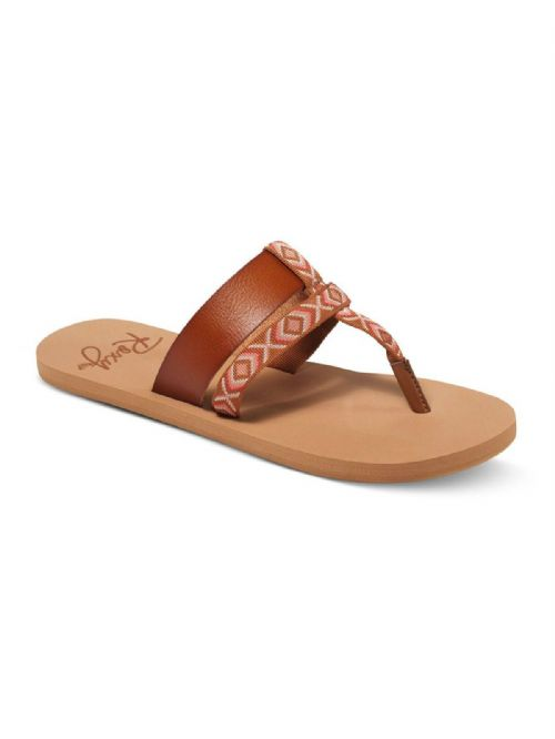 ROXY WOMENS SANDALS.KAHULA STRAPPY BROWN MULE SLIP ON/THONG FLIP FLOPS 7S/49/TAN